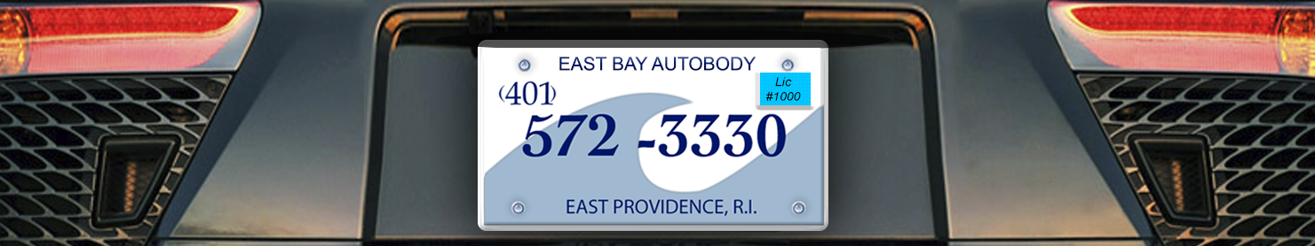 east bay autobody rear end view of vehicle displaying license plate logo