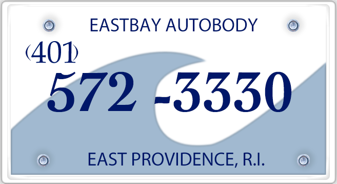 east bay autobody license plate logo with phone number